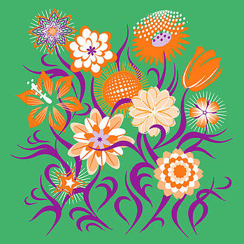 Flowers Green-Orange-Purple  by John Rose