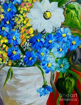 Flowers in a White Vase by Eloise Schneider