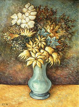 Art America Gallery Peter Potter - Flowers in Blue Vase - Still Life Oil