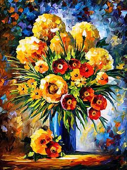 Flowers Of Happiness - PALETTE KNIFE Oil Painting On Canvas By Leonid Afremov by Leonid Afremov