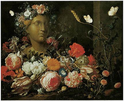 Nicolaes Van Veerendael - Flowers round a Classical Bust