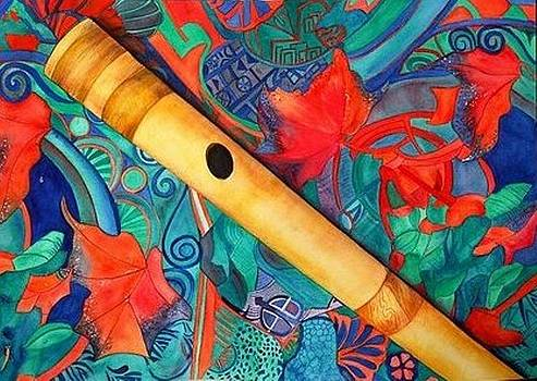 Flute on colorful background by Anuradha Gupta