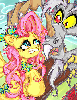 Flutter Shy and Discord II by Sarah Bavar