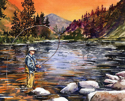 Fly Fishing at Sunset Mountain Lake by Beth Kantor