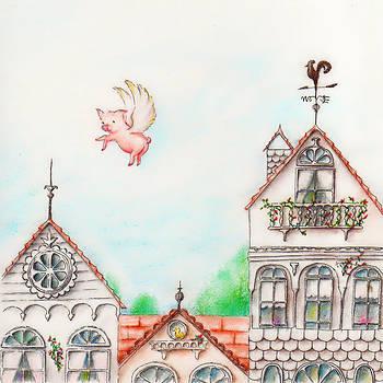 Junko Van Norman - Flying Pig Pastel Painting
