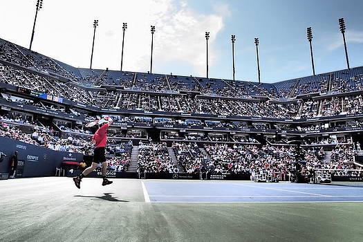 Flying Tennis Return at US Open by Mason Resnick
