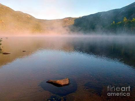 Christine Stack - Fog Clearing at Sunrise on Basin Pond in the White Mountains