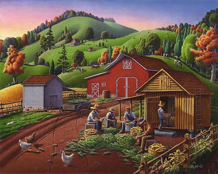 Folk Art Americana - Farmers Shucking Harvesting Corn Farm Landscape - Autumn Rural Country Harvest  by Walt Curlee