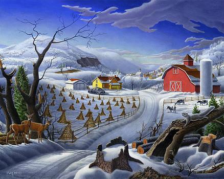 Folk Art Winter Landscape by Walt Curlee