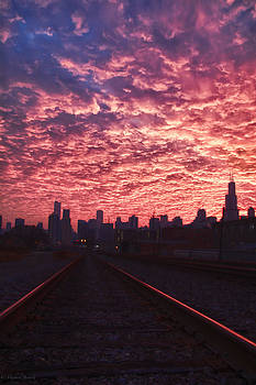 Follow the Light - Chicago Skyline by Michael  Bennett