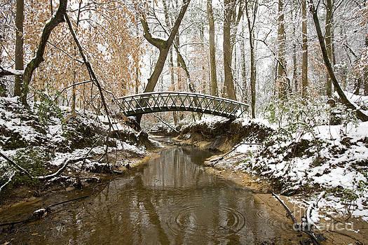 Footbridge In Winter by Russell Christie