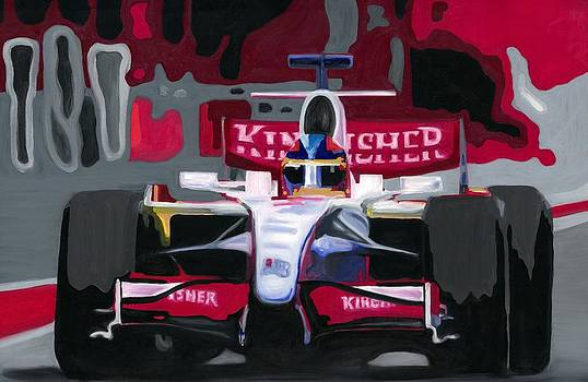 Force India Rising in F1 Monaco Grand Prix 2008 by Ran Andrews