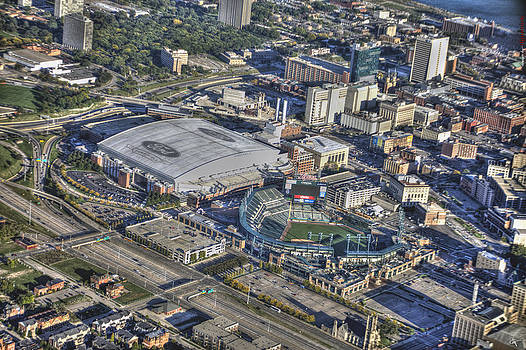 Ford Field Comerica Park From Twenty Five Hundred Feet by A And N Art