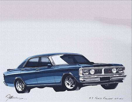 Ford XY GTHO watercolor by Fred Otene