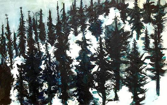 Forest in snow by Kendall Wishnick Adams