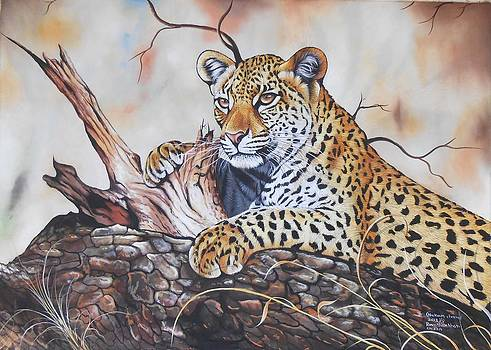 Forest Watch Silk Painting  by Hukam Chand Wildlife artist