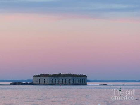 Christine Stack - Fort Gorges Sunset  in Casco Bay Portland Maine