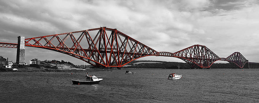 Jane McIlroy - Forth Rail Bridge - Scotland - mono with red