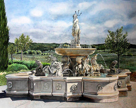 Fountain at the Vineyards Edge by Gail Chandler