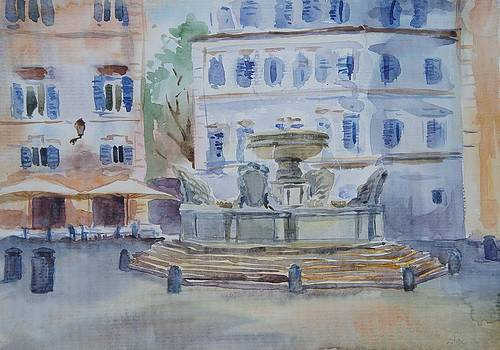 Fountain in Piazza Santa Maria in Trastevere by Litvac Vadim