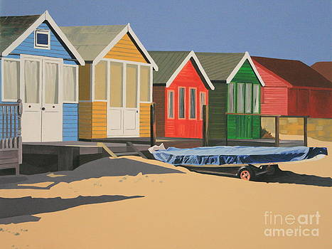 Four Beach Huts by Linda Monk