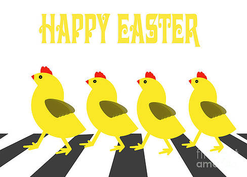 Judith  Flacke - Four chicken crossing road fun Easter card cartoon design.