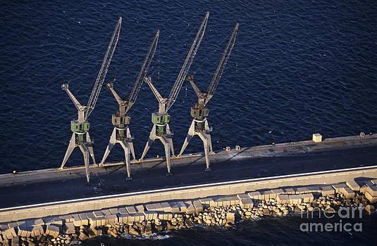Four harbour cranes on dike by Sami Sarkis