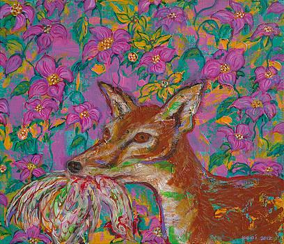 Fox Biting Hen by Yemi Kim