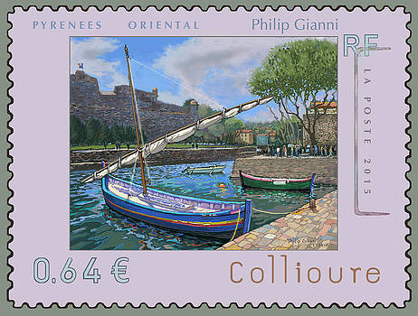 France stamp of Collioure by Philip Gianni