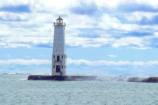 Frankfort Lighthouse on Lake Michigan by Ted Lepczynski