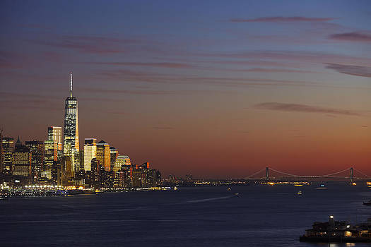 Freedom Tower And Lower Manhattan on the Hudson at Night by Alex Llobet