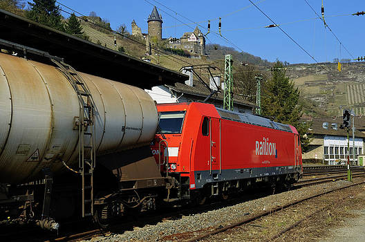 Freight train passing Bacharach Germany by David Davies