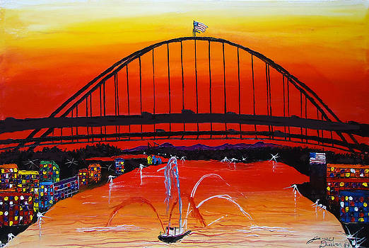Fremont Bridge At Dusk 11 by Portland Art Creations