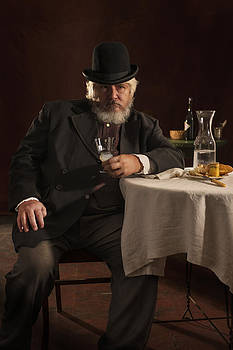 Frenach Man with Absinthe and Cheese by Damian Hevia