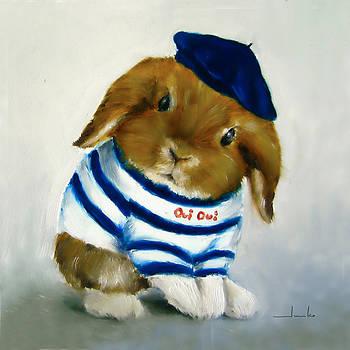 French Rabbit Art Print by Junko Van Norman