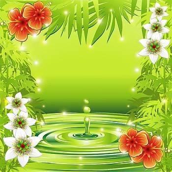 Fresh Green Water Bamboo and Tropical Flowers by BluedarkArt Lem