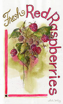 Fresh Red Raspberries by Leslie Fehling