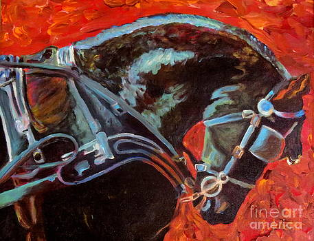 Friesian Horse in Harness by Jodie  Scheller