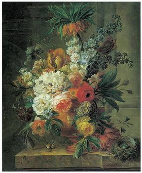 Willem Van Leen - Fritillary and other Flowers in a Marble Urn
