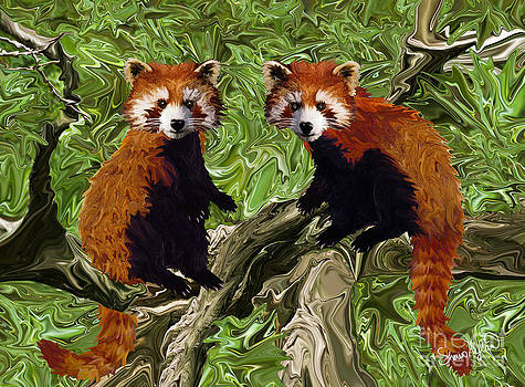 Frolicking Red Pandas by Sherin  Hylan