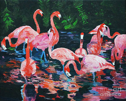 Frolickingf Flamingos by Frankie Picasso
