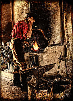 Frontier Blacksmith at the Forge by Lincoln Rogers