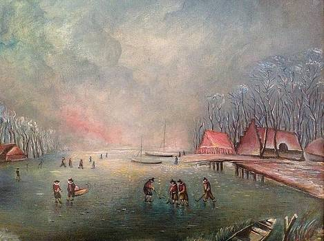 Frozen lake with ice skaters by Egidio Graziani
