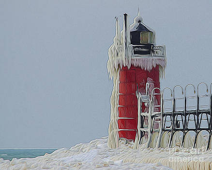 Frozen Lighthouse by JRP Photography