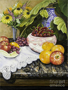 Fruit and Flowers Still Life by Gail Darnell
