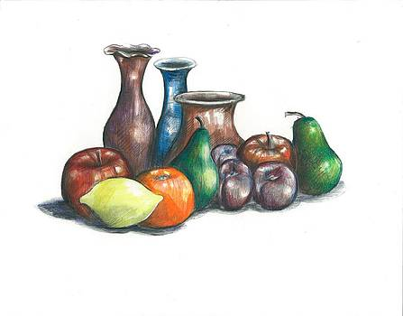 Fruit and vases by Jim  Romeo