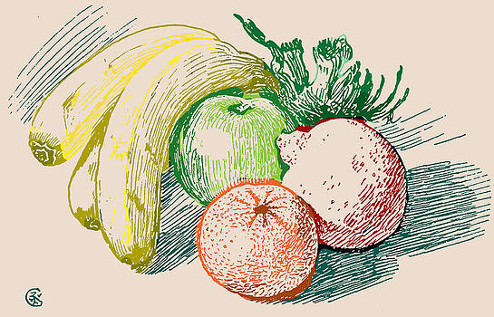 Fruit Drawing In Color by