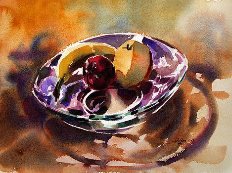 Fruit in a glass bowl by Julianne Felton 2-16-14 by Julianne Felton