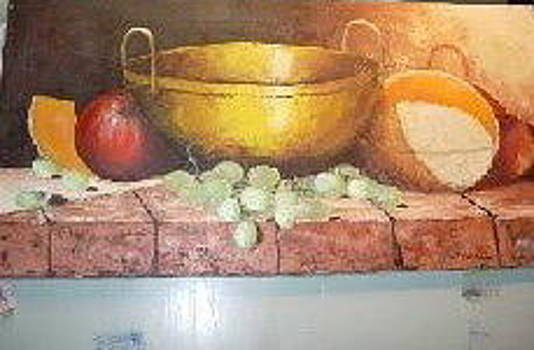 Fruit on a plaster wall by Brent Vall Peterson