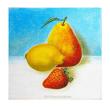 Fruit Still Life v1 Mini Art 4x4 by Mary Sylvia Hines